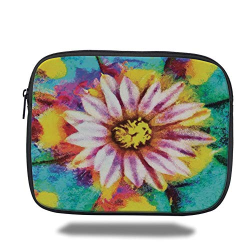 Tablet Bag for Ipad air 2/3/4/mini 9.7 inch,Psychedelic Decor,Oil Paint of Blooming Peyote Flower Abstract Petal Floral Print Image,Turquoise Pink,Bag -