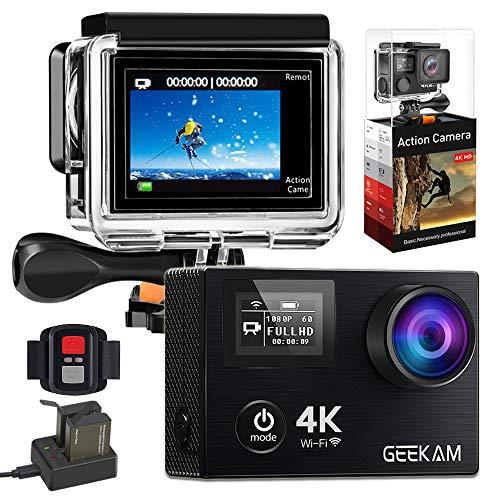 GeeKam 4k Action Cam Wasserdichte Sport Kamera WiFi Doppelbildschirm Ultra Full HD 30M Unterwasserkamera 170° Weitwinkel Aktion Helmkamera mit Zwei 1050mAh Batterien und Zubehör