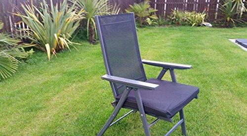HomeZone® 50 cm x 45 cm résistant à l'eau Fauteuil de luxe et meubles de terrasse rembourré Coussin meubles de jardin Pad carré intérieur/extérieur (4, Noir)