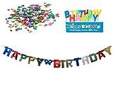 Happy Birthday Geburtstags-Deko-Set (3tlg), Girlande Kerzen Konfetti, Ideal für ihre Geburtstag-Party