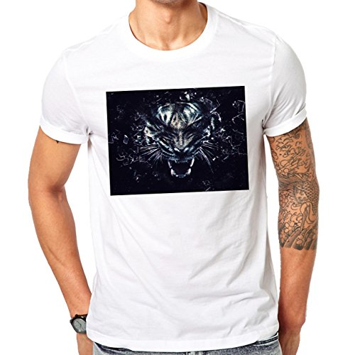 Illuminati Triangle Art Majestic Tiger Black Mad Herren T-Shirt Weiß