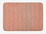 Paisley Bath Mat, Ancient Persian Ornament Motifs with Flowers in Vivid Colors Ethnic Asian, Plush Bathroom Decor Mat with Non Slip Backing, 23.6 W X 15.7 W Inches, Tan Aqua Mint Green