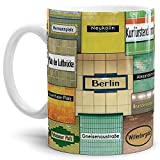 Tassendruck Berlin-Tasse U-Bahn Mix Weiss - von Tom Bäcker - U-Bahn/U-Bahnhöfe/Souvenir aus der Hauptstadt/Becher/Kaffeetasse/Mug/Cup - Qualität Made in Germany