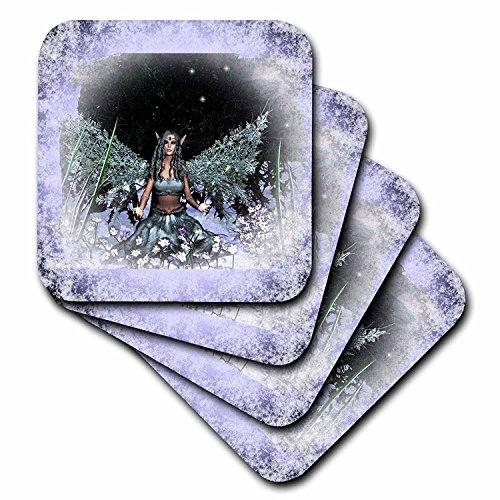 3dRose CST 31042_ 4Winter Solstice Winter Fairy-Ceramic Fliesen Untersetzer, Set von 8