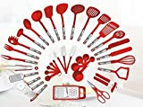 Preferred Housewares International Kochutensilien Set für zu Hause Dreher Zangen Spatel Pizzaschneider Schneebesen Flaschenöffner, Grate Schäler 38-teiliges (Rot)
