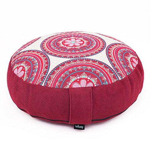 Meditationskissen RONDO extra-flach LIMITED EDITION, Bezug mit Muster 'Mandala', weinrot/rot, abnehmbarer Bezug aus 100% Baumwolle (Köper & Velveton), 35 x 13 cm, Dinkel-Füllung (kbA)