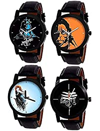 Sunstar Watches Combo Of 4 Mahadev Printed Dial With Black Leather Belt With Casual And Formal Watch Analog Watch...