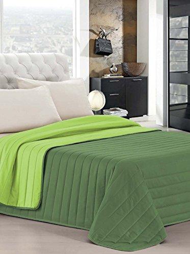 Italian bed linen elegant trapuntino matrimoniale 2 posti, verde mela/verde scuro, 260 x 270 cm
