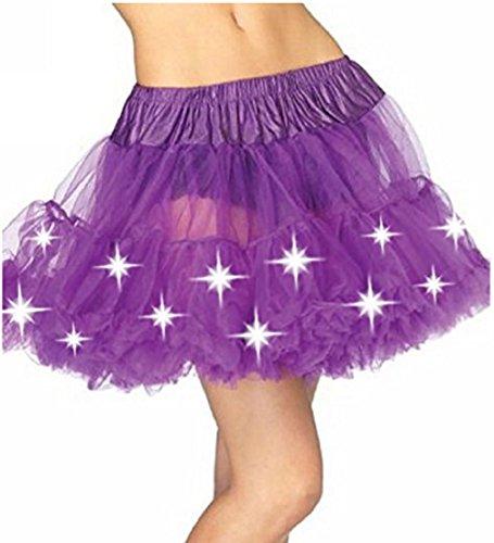 lloween Party eine Linie Ballett Tütü Mini Rock mit LED Party Kurz Glam Gothic Vintage Petticoat Tanzkleid Ballett Licht Glam Gotik Tüll Tanz Rock (Einheitsgröße, Lila) (Lila Halloween-lichter)