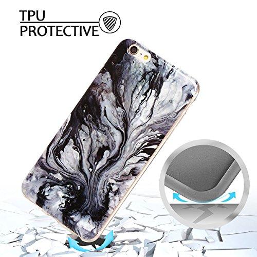iPhone 6Plus Custodia, Marmo Design Pattern TPU sottile in silicone Custodia protettiva per iPhone 6Plus, E Lush cristallo trasparente trasparente antigraffio Custodia Ultra Chic Thin Morbido Custod Grau und schwarz