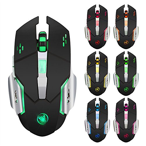 SOMESUN-Mouse Senza Fili Mouse Ricaricabili Da 2400 DPI Gamer 6 Gaming Mouse 2.4G Wireless Logitech Mini Gaming Bluetooth Ricaricabile Usb Trust Verticale Pad