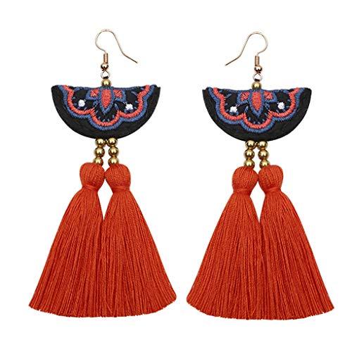 en Mädchen gestickte Blumen-Haken-Ohrringe weiblichen Quaste Fringe Lange Ohrringe Bohemian Ethnic Schmuck ()