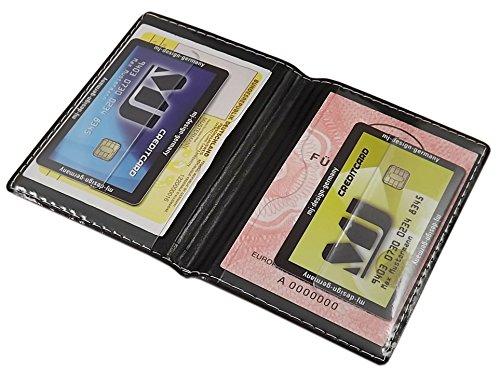 Porta carte d'identità e carte di credito con 4 scomparti MJ-Design-Germany Made in UE in diversi colori e designs (Design 1 / Nero) Design 2 / Rosso