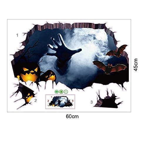 Yanhoo 3d Happy Halloween Ménage pièce Sol Mur Stickers muraux Décor Autocollant amovible multicolore