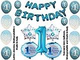 Shopama Palloncini 1 Primo Compleanno Bambino Blu 30 Pezzi
