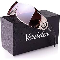 Verdster Gafas De Sol Gran Tamaño Mujeres- Aptos para Conducir - Montura Envolvente Cómoda con Protección UV - Incluye un estuche, funda y un pañuelo - Peanut Brown