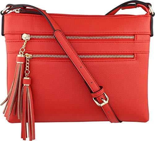 B BRENTANO Handtasche mit mehreren Reißverschlüssen und Quasten-Akzenten, Rot (True Red), Medium -