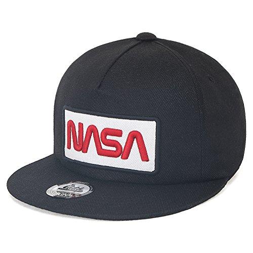 ililily NASA Worm abgebildet im Logo Stickerei Baseball Cap Netz Snap Kappe Trucker Cap Hut (Medium, Black Flat) -
