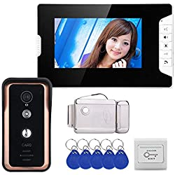 XYWISHVideo Door Phone 7 pulgadas Sistema de monitor de timbre con intercomunicador de video inteligente, IR 2m Cámara de visión nocturna impermeable al aire libre, conversación con manos libres