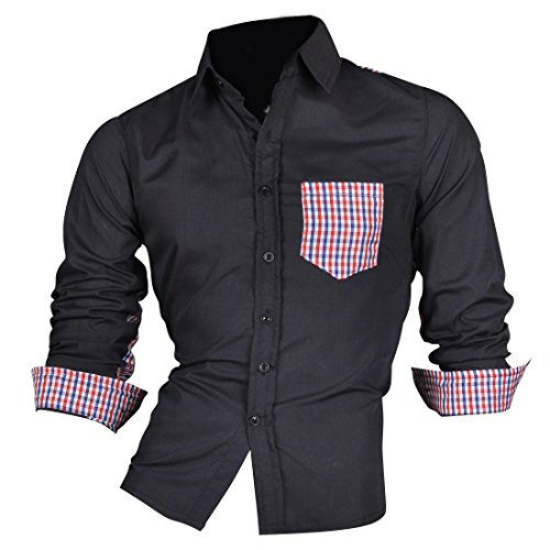 Jeansian Hommes Chemise Casual Slim Fit Trend Fashion Mens Shirt 8527 Navy