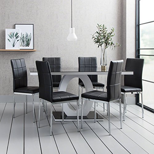 Del Vecchio Premium Black Glass Dining Table Set With 6 Chairs