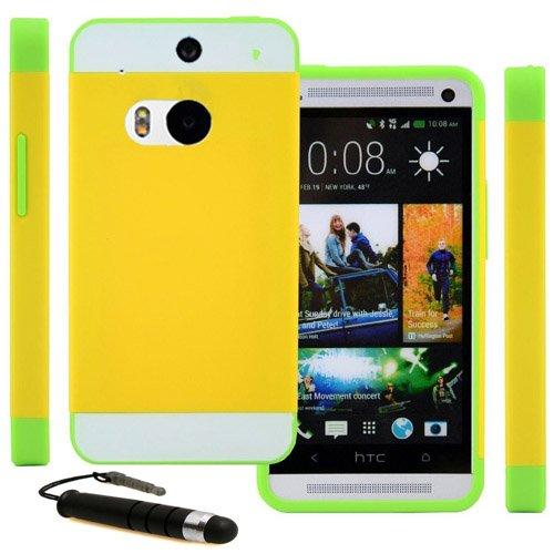 Castho 2 in 1 Zubehörsets Handyhülle Hybrid TPU Silikon Glitzer Strass Schutzhülle für HTC One M8 Hülle Hüllen Tasche Etui Protective TPU Harte Schale Handytasche mit Mini Touch Pen - Gelb/Grün