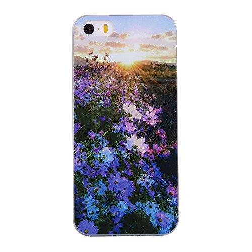 Pour iPhone 5 5S 5G / iPhone SE Case Cover, Ecoway TPU Soft Silicone motifs peints Housse en silicone Housse de protection Housse pour téléphone portable pour iPhone 5 5S 5G / iPhone SE - Flamant Fleurs violettes