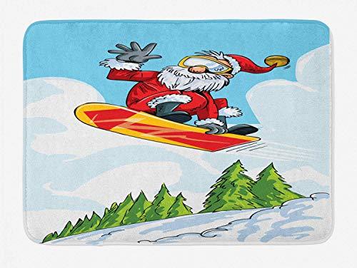 KIYINY Santa Bath Mat, Cartoon Style Santa Doing a Jump on Snowboard Snow Covered Mountains and Pine Trees, Plush Bathroom Decor Mat with Non Slip Backing, Multicolor 15.7X23.6 inch/40X60cm
