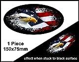 Verblasst zu schwarz getragen Grunge Oval Design mit American Bald Eagle & USA Flagge für Motorrad Helm Auto Aufkleber 150x 75mm