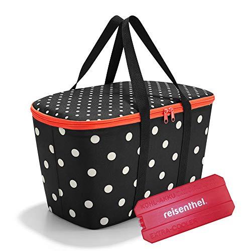 reisenthel coolerbag mit Kühlakku - isolierte Kühltasche, faltbar, robust, mit Reißverschluss - 44,5 x 24,5 x 25 cm, Volumen: 20l - Exklusives Set, Mixed dots (7051)