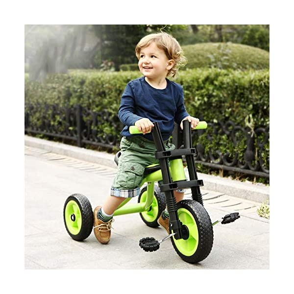 BGHKFF Childrens Tricycles 2 To 5 Years Anti-slip Pedals Kids Tricycle The Seat Can Be Adjusted Back Child Trike Maximum Weight 25 Kg,Green BGHKFF ★Material: Steel frame + TPR plastic, suitable for children aged 2-5, maximum weight 25 kg ★ Size: 57*25*37cm/22.4*9.8*14.5inchs ★Features: The frame is made of steel, high-strength argon arc welding technology, strong and firm; the front fork of the handlebar is integrated, anti-bias, anti-dislocation, anti-loose; rear-wheel quick-disconnect design, easy to disassemble; 1