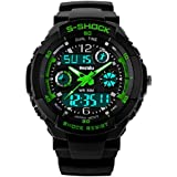 BesWLZ Unisex Sport Watch Multifunction Green Led Light Digital Waterproof S - Shock Wristwatch (Green)