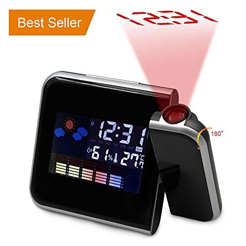 Rotierende Projektion Digitaler Wecker mit LED-Hintergrundbeleuchtung & Snooze Display Temperatur / Tag / Datum / Hygrometer / Feuchtigkeit 12 Stunden & 24 Stunden (Black)