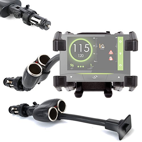 DURAGADGET Soporte De Coche Flexible Para GPS Coyote Mini/S/NAV - Con Doble Cargador Para Mechero Del Coche