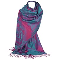 GFM Roses or Floral Pattern Pashmina Style Scarf Shawl Wrap (AH155 - TLGLB)