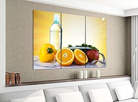 Leinwandbild 3tlg 120cmx100cm Apotheke Medizin Apfel Diät Obst Bilder Druck auf Leinwand Bild Kunstdruck mehrteilig Holz 9YA2550, 3 Tlg 120x100cm:3 Tlg 120x100cm