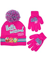 a98b74294 Shopkins Girls' Assorted Character Beanie Hat and Gloves Cold Weather Set  Winter Accessory, Pink