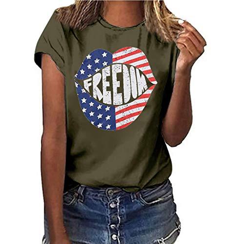 BfmyxgsAmerican Independence Day Free Print Lippen patriotische Flagge Rundhals Kurzarm Top