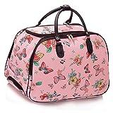 LeahWard® Damen Mode Essener Große Größe Qualität Schmetterling Gepäck Reisetasche Reisetasche Wagen Gepäck mit Rads UrlaubReise Wochenende Taschen (Rosa)