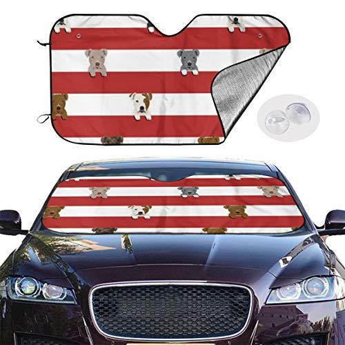 Car Windshield Sun Shade Pitbull Stripes Dog Breed Keep Your Vehicle Cool UV Sun Heat Reflector 51.2x27.5 Inchs - Ocean Beach Stripe