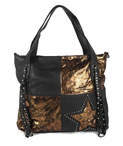 Schwarz Handtasche Stern Tasche Bronze Nieten Strass Metallic fawUq1Tq