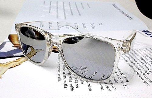 Wayfarer 80er Jahre Geek Design Sonnenbrille transparenter Rahmen Skifahren Gläser Silber verspiegelt