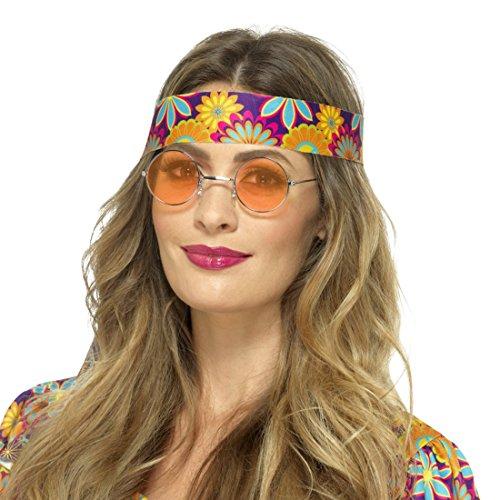 NET TOYS Hippie Sonnenbrille John Lennon Hippiebrille orange 70er Jahre Retrobrille Runde Flower Power Brille