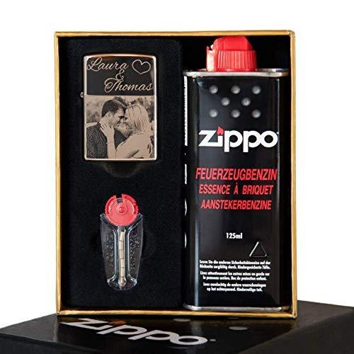 Gravur.ZONE Zippo Original Chrom Poliert mit Geschenkbox | inkl. Foto- und Wunschgravur | graviert | Fotogravur | Gravur | Geschenkidee | Zippo