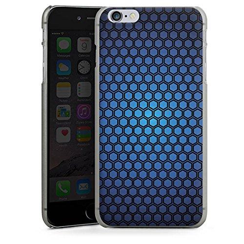 Apple iPhone X Silikon Hülle Case Schutzhülle Muster Punkte Blue Hexagon Pattern Hard Case anthrazit-klar