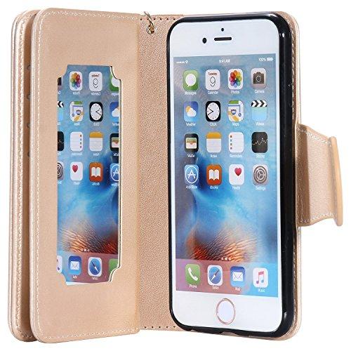 iPhone Case Cover Gepresste Blumen Geprägte Mädchen und Katzen-Muster PU-Leder-Kasten-Abdeckung mit Handschlaufe und 9-Karten-Slot-Foto-Rahmen für IPhone 6 6S 4.7 ( Color : Gray , Size : IPhone 6 ) Gold