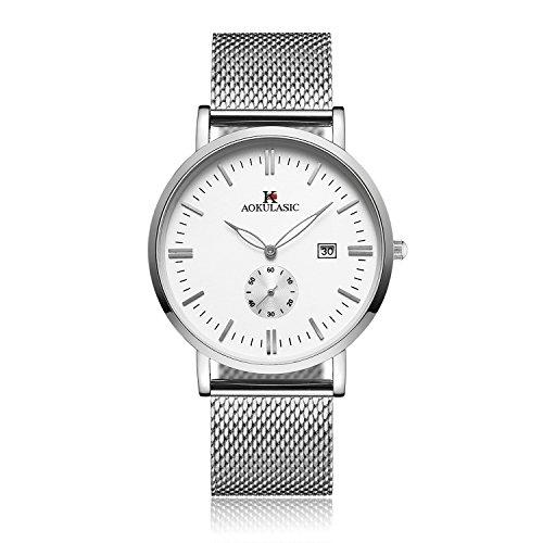 Yevita Armbanduhr Herren klassische Armband Uhr Edelstahlarmband Wasserdicht mit Kalender Und Sekundenzeiger Silber + Weiß (Kunststoff-armband-uhr)