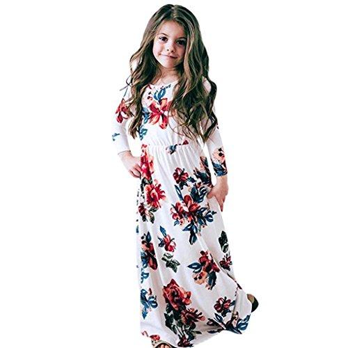 Mädchen Kleider Festliche Kindermode Kleider Longra Mädchen Blumen Kleid Langarmshirt Kleid Schöne Lange Maxikleid Frühjahr-Sommer Kinderkleidung Prinzessin Party Kleid (White, 150CM 7Jahre)