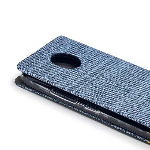 EKINHUI Case Cover Mischfarben Segeltuch-Jeans-Tuch-Beschaffenheit PU-lederner weicher TPU rückseitige Abdeckung mit Kickstand und Kartenschlitzen für Motorola MOTO C ( Color : Blue ) Blue