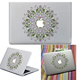 Macbook Autocollant Décalque, YUDA Tech Amovible Cercle des Fleurs Conception Vinyle Decal Peau Stickers Ajustement Parfait pour Portable MacBook Air/Pro/Retina 13 15 pouce